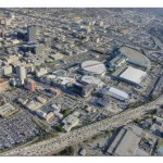 Aerial view of downtown LA, Staples Center, Convention Center