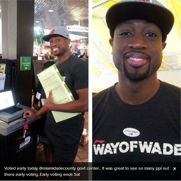 Dwyane Wade voted early in Miami Dade County